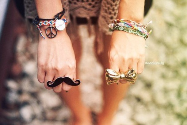 jewels moustache ribbon ring gold ribbon ring giant ring moustache hipster