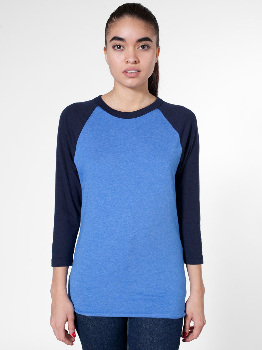 Unisex Poly-Cotton 3/4 Sleeve Raglan Shirt   American Apparel