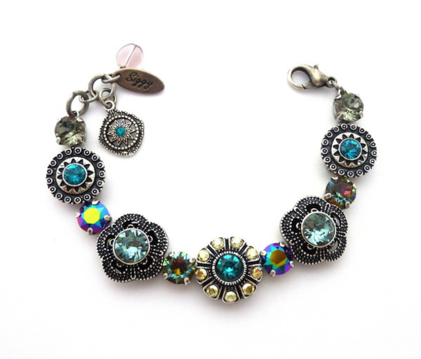 jewels siggy jewelry bracelets jewelry bling arm candy style fashion trendy sparkle unique jewelry boho chic streetstyle blue green grey black daimond antique silver silver bracelet flower bracelet ornate victorian etsy stacking bracelet musthave gift ideas valentines day gift idea diva swag fashionista