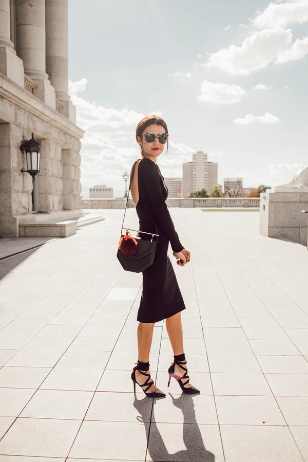 aae573afc74 hello fashion blogger dress shoes sunglasses high heels black dress midi  dress bachelorette party outfits open