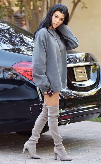 shoes kardashians boots grey yeezus jacket kourtney kardashian sweatshirt over the knee boots