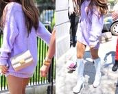 cardigan,sweater,ariana grande lilac sweater dress