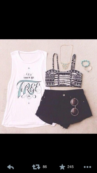 summer outfits tank top crop tops black denim shorts round sunglasses