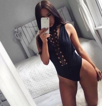 swimwear black one piece swimsuit one piece lace girly girl girly wishlist