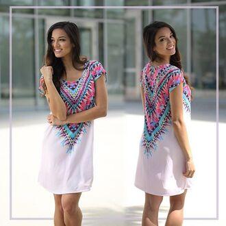 dress short dress cute dress short sleeve dress tribal print dress aztec dress savedbythedress