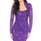 Long sleeve scalloped neckline ruched lace dress in the style of nicole scherzinger