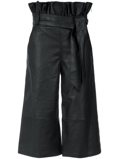 Olympiah cropped women leather black pants