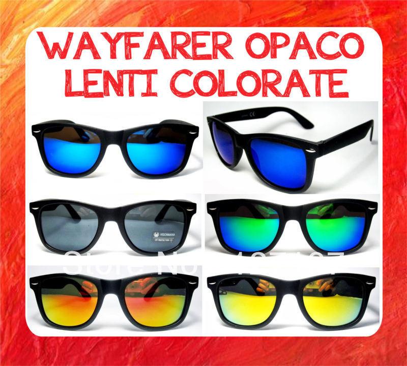 10 dollar store occhiali da sole nero opaco lenti a specchio colorate wayfarer phacha blu verdi - Occhiali lenti colorate a specchio ...