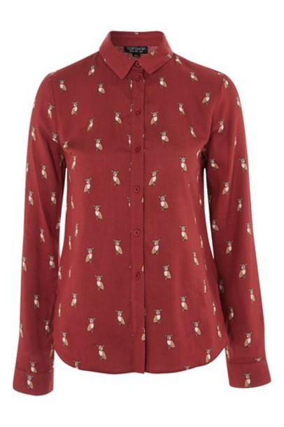 Topshop shirt print rust top