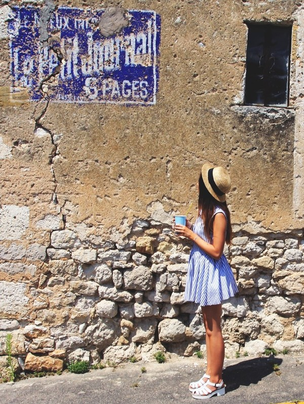 dress hat shoes cute blue flowy white girl tan stripes summer
