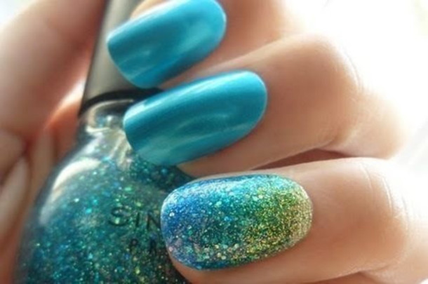Nail Polish Ombre Nails Glitter Glitter Sparkle Blue Aqua Mermaid Sinful Colors Statement Nail Green Gold Wheretoget