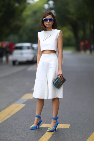 shoes sunglasses fashion week 2014 streetstyle jumpsuit top white skirt