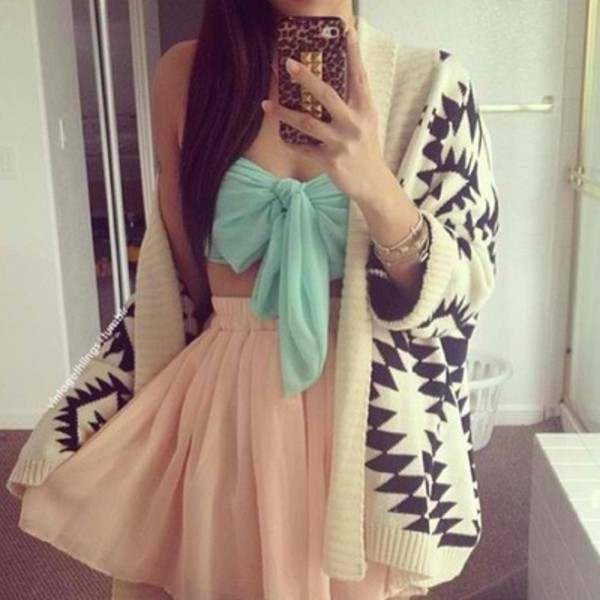 tank top top skirt blue teal turquoise skater skirt jacket blouse crop tops cardigan pink dress tumblr outfit peach skirt style