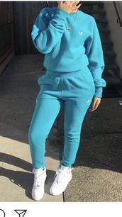 jumpsuit,light blue sweat suit,champion