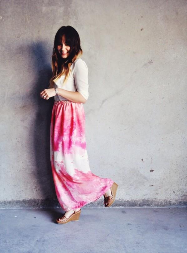 skirt rose skirt long skirt summer skirt beach lovely skirt cool fashion 2014 t-shirt shoes