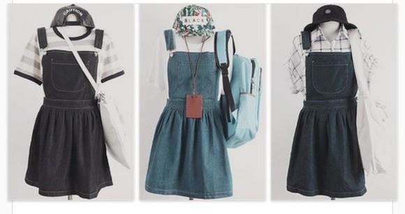backpack t-shirt back to school denim dress