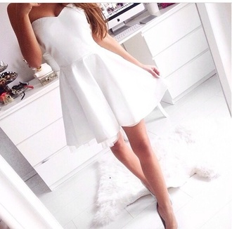 white dress short party dresses white dress heart shape lovely skater skirt strapless white skater dress straplesss bandeau skater dress