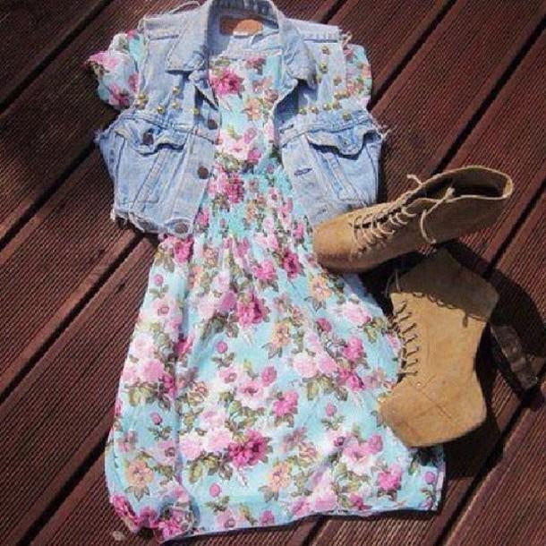 jacket vest denim vest dress boots hat shoes