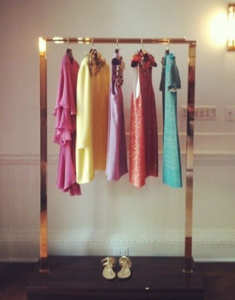 dress gold clothes rack