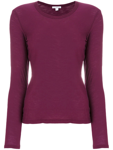 James Perse - classic fitted top - women - Cotton - 2, Pink/Purple, Cotton