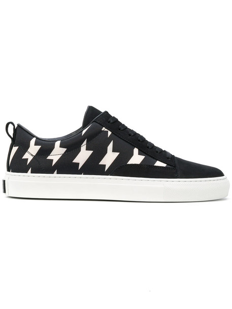 MSGM women sneakers leather print suede black shoes