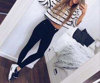 t-shirt crop tops shirt t shirt print striped shirt black white nike shoes nike sweater