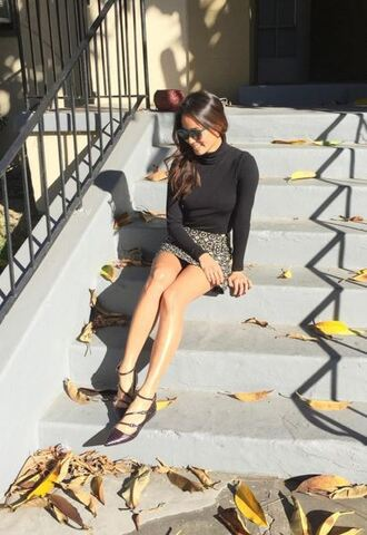 skirt top turtleneck bodysuit fall outfits mini skirt flats ballet flats jamie chung blogger instagram shoes