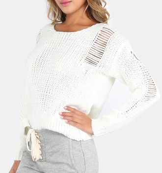 sweater girl girly girly wishlist white white sweater knit knitwear knitted sweater