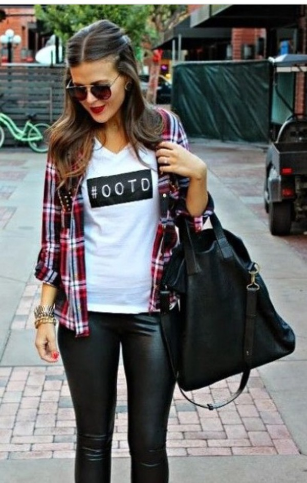 ootd t-shirt jeans leather pants gold bracelet black handbag white t-shirt slogan t-shirts flannel shirt red flannel shirt black leather pants brown sunglasses ankle boots black lace up boots lace up boots suede boots