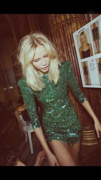 dress style pailettes dress sequin dress fashion green dress elegant dress