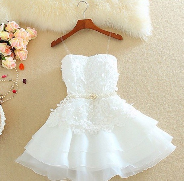 dress white shorts white lace embroidered fashion style prom