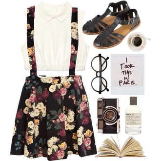 skirt floral dungarees cute indie pretty tumblr hipster shirt shoes