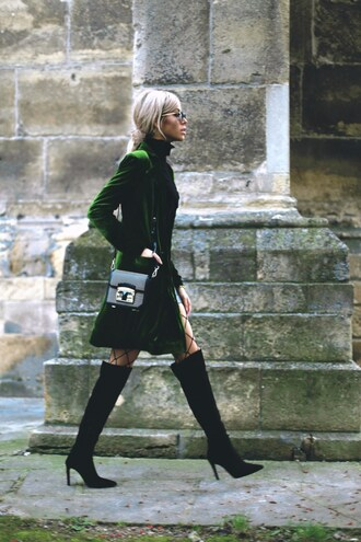 coat tumblr green coat velvet top turtleneck bag black bag shoulder bag boots shoes thigh high boots black boots high heels boots over the knee boots tights net tights fishnet tights