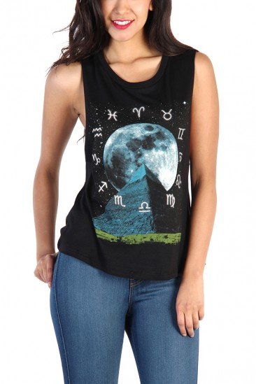 LoveMelrose.com From Harry & Molly | Pyramid Moon Print Tank Top - Black