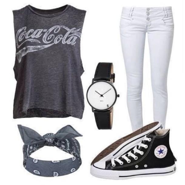 bandana coca cola grey t-shirt white jeans chucks converse cool girl style swag shirt jeans hair accessory shoes