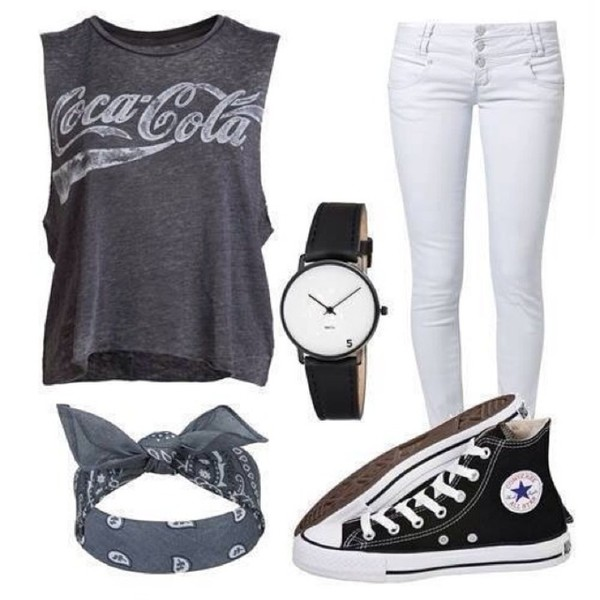 Shoes Bandana Coca Cola Grey T Shirt White Jeans