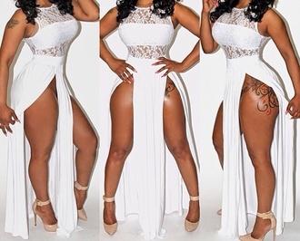 side split maxi dress white dress dress all white everything irene the dream