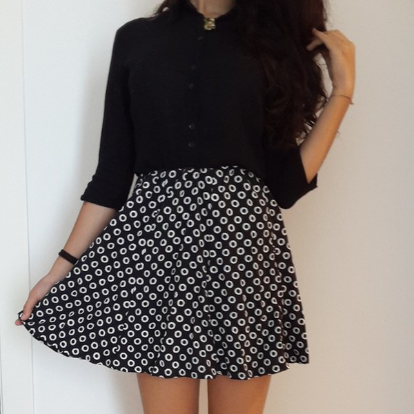 black skirt black and white vintage shirt skirt