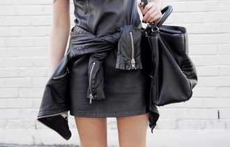 bag black leather tumblr dress