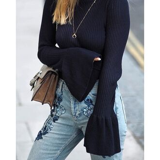 jeans tumblr black top smiley face knitted top in grey knitwear bell sleeves embroidered embroidered jeans bag bell sleeve sweater crescent pendant jewels necklace jewelry gold necklace gold jewelry accessories