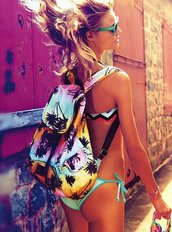 bag,summer,backpack,flower bag,flowers,girl,blonde hair,palms,palm tree,pink,blue,orange,beach,back to school,bikini,victoria's secret back pack,girly,sweater,palm tree print,rainbow,bookbag,sunset,pretty sky,graphic print,neat,pom trees,yellow,tree,tie dye,bags for women,pink by victorias secret,swimwear,summer bag,beachy backpack,victoria's secret
