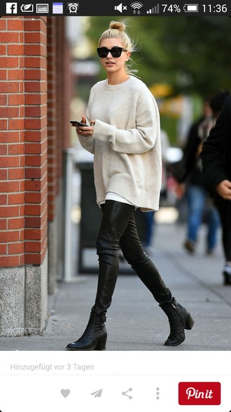 sweater beige sweater oversized sweater leather boots leather leggings