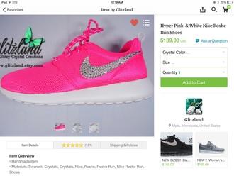 shoes nike roshe run cute pink running swag