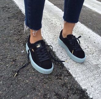 creepers puma sneakers shoes flats platform shoes puma sneakers shoes winter black black shoes white light blue puma rihanna