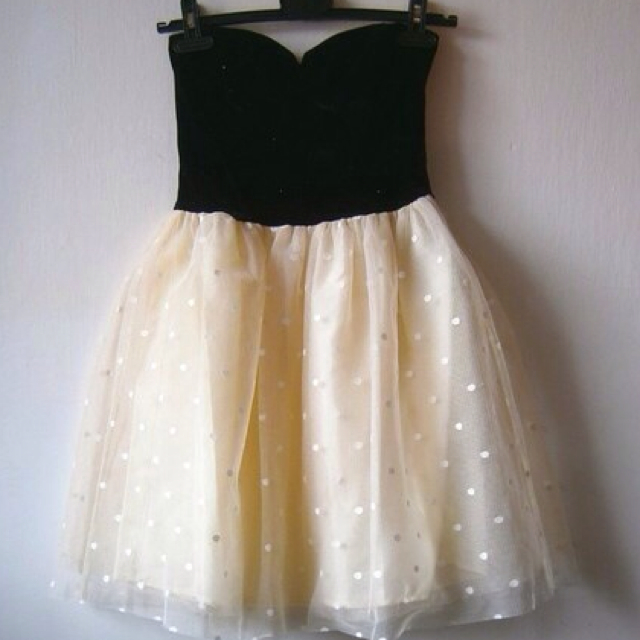 Cute Black And Yellow Party Dress With Dot, Cute Party Dresses, Cute Dot Yellow Dresses,Mini Dress,  on Luulla