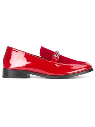women loafers leather red shoes