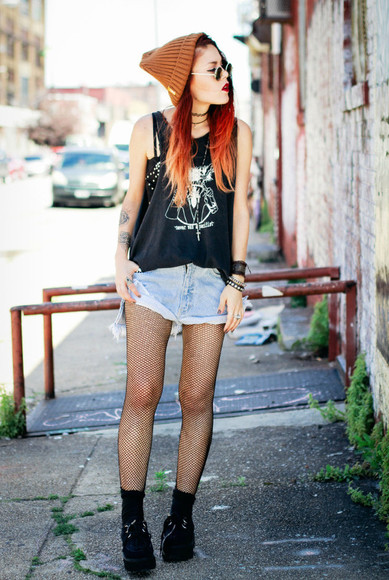 denim t-shirt sunglasses round sunglasses jewels denim shorts hipster beanie grunge le happy orange orange beanie tank top tattoo High waisted shorts tights bracelets goth hipster nail polish ring underwear