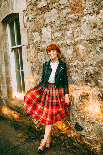 the clothes blogger jacket blouse skirt dress tights bag fall outfits pleated skirt tartan skirt plaid skirt leather jacket