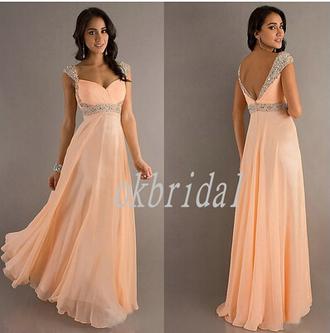 backless orange beading prom dresses wish.com prom dress long cap sleeves chiffon dresses