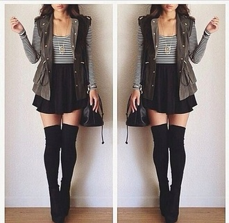 black skater skirt striped black and white  top long black socks